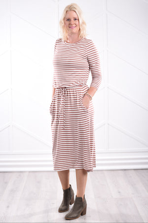 Noelle Striped Dress - Mauve - Strong Confident You