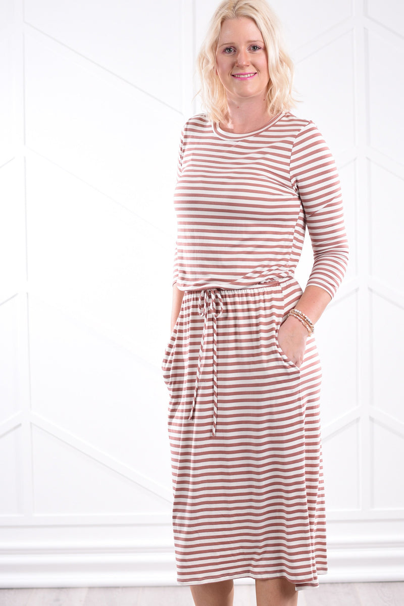 Noelle Striped Dress - Mauve