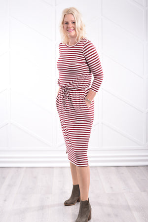 Noelle Striped Dress - Wine - Strong Confident You