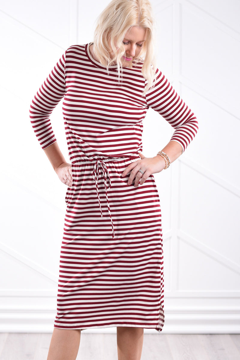 Noelle Striped Dress - Wine