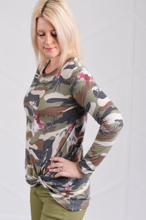 Callie Camo Knotted Top - women's boutique clothing Strong Confident You