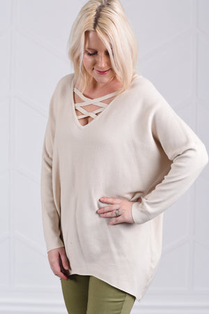 Christine Criss Cross Sweater - Natural - women's boutique clothing Strong Confident You