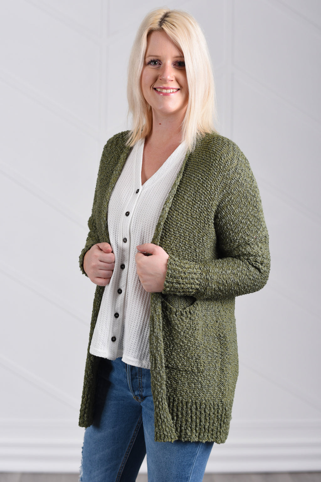 Gotta Have It Cardigan - Olive - women's boutique clothing Strong Confident You
