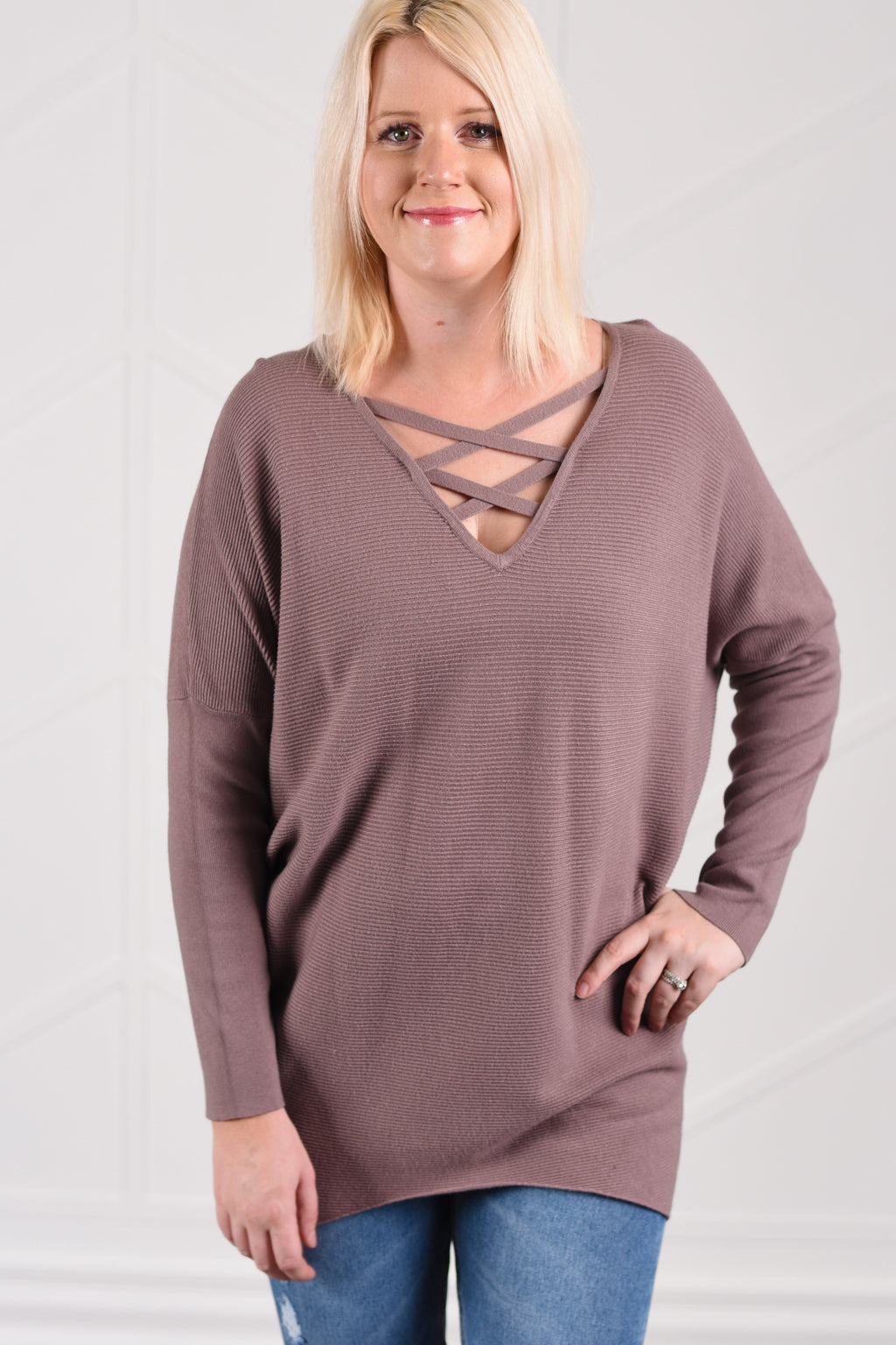 Christine Criss Cross Sweater - Mauve Brown - Strong Confident You