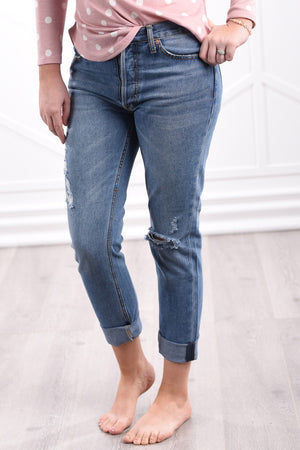 Holly Distressed Boyfriend Jeans - women's boutique clothing Strong Confident You