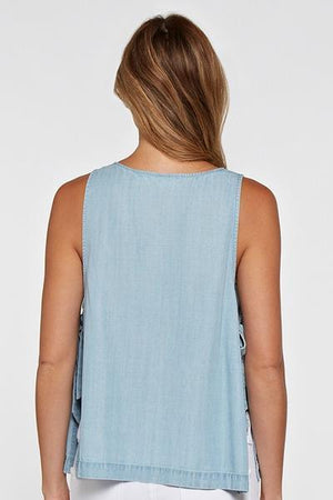 Easy Chambray Top - Light Wash - women's boutique clothing Strong Confident You