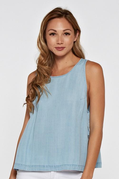 Easy Chambray Top - Light Wash - Strong Confident You