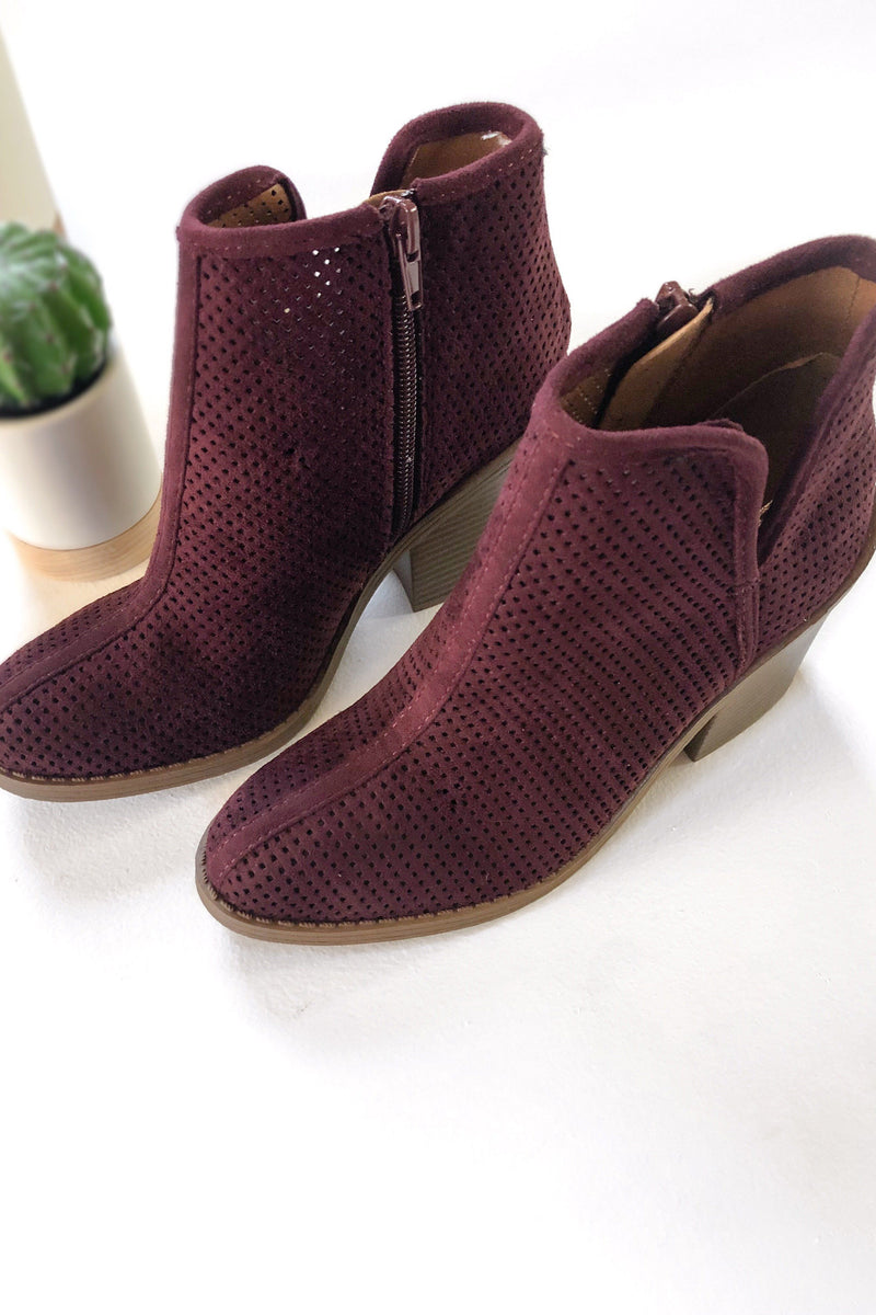 Brynn Booties - Wine - women's boutique clothing Strong Confident You
