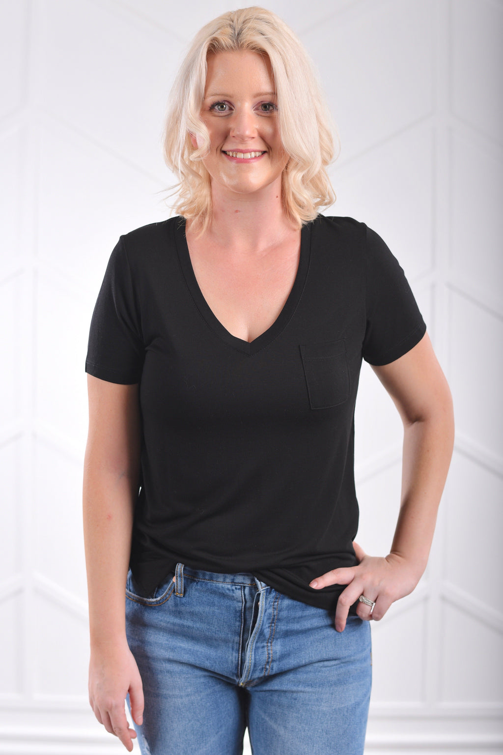 The Perfect V-Neck Tee - Black