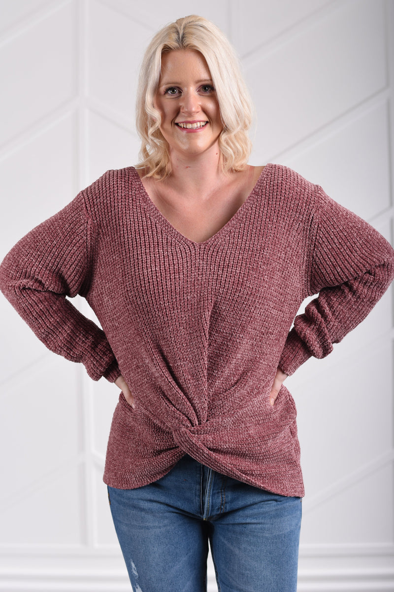 Harper Chenille Sweater - Mauve - women's boutique clothing Strong Confident You