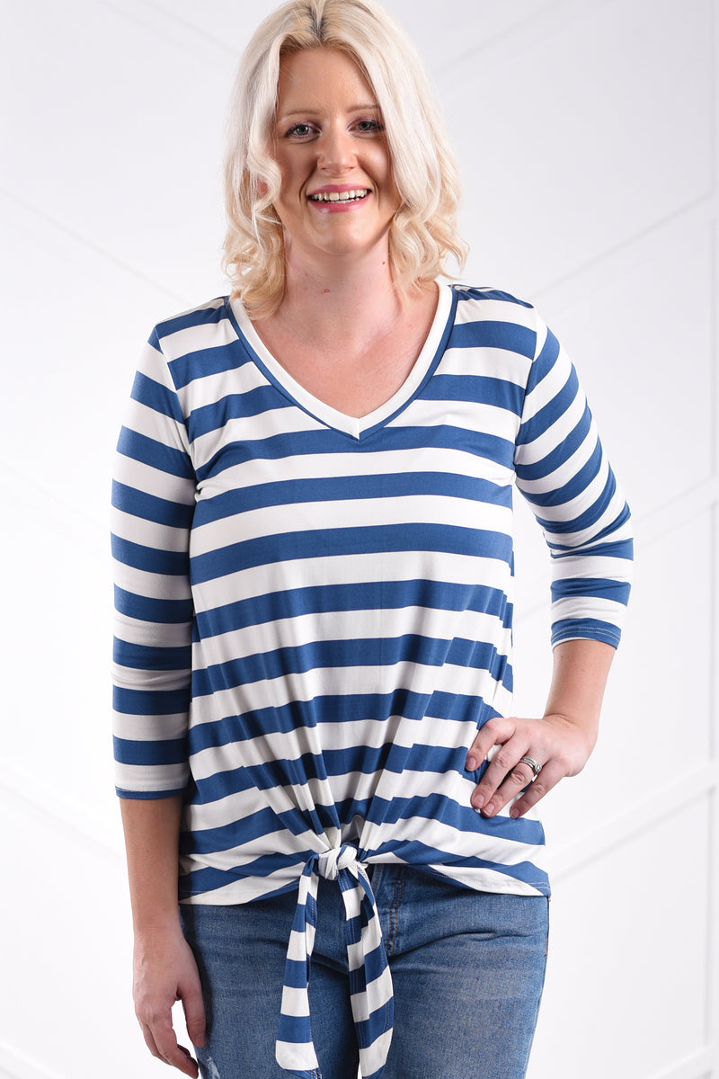 Vienna Stripe Tie Top - Medium Ink Blue