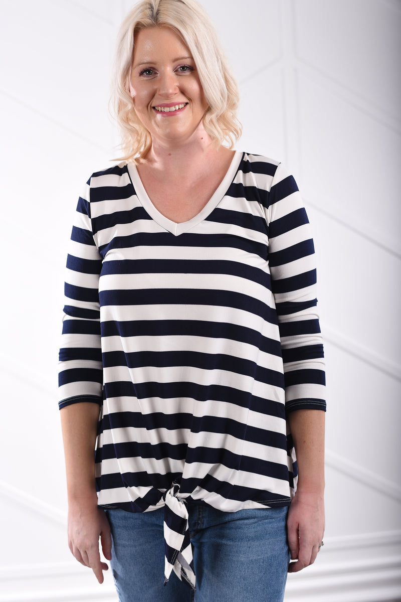 Vienna Stripe Tie Top - Navy