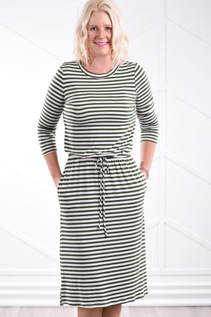 Noelle Striped Dress - Olive
