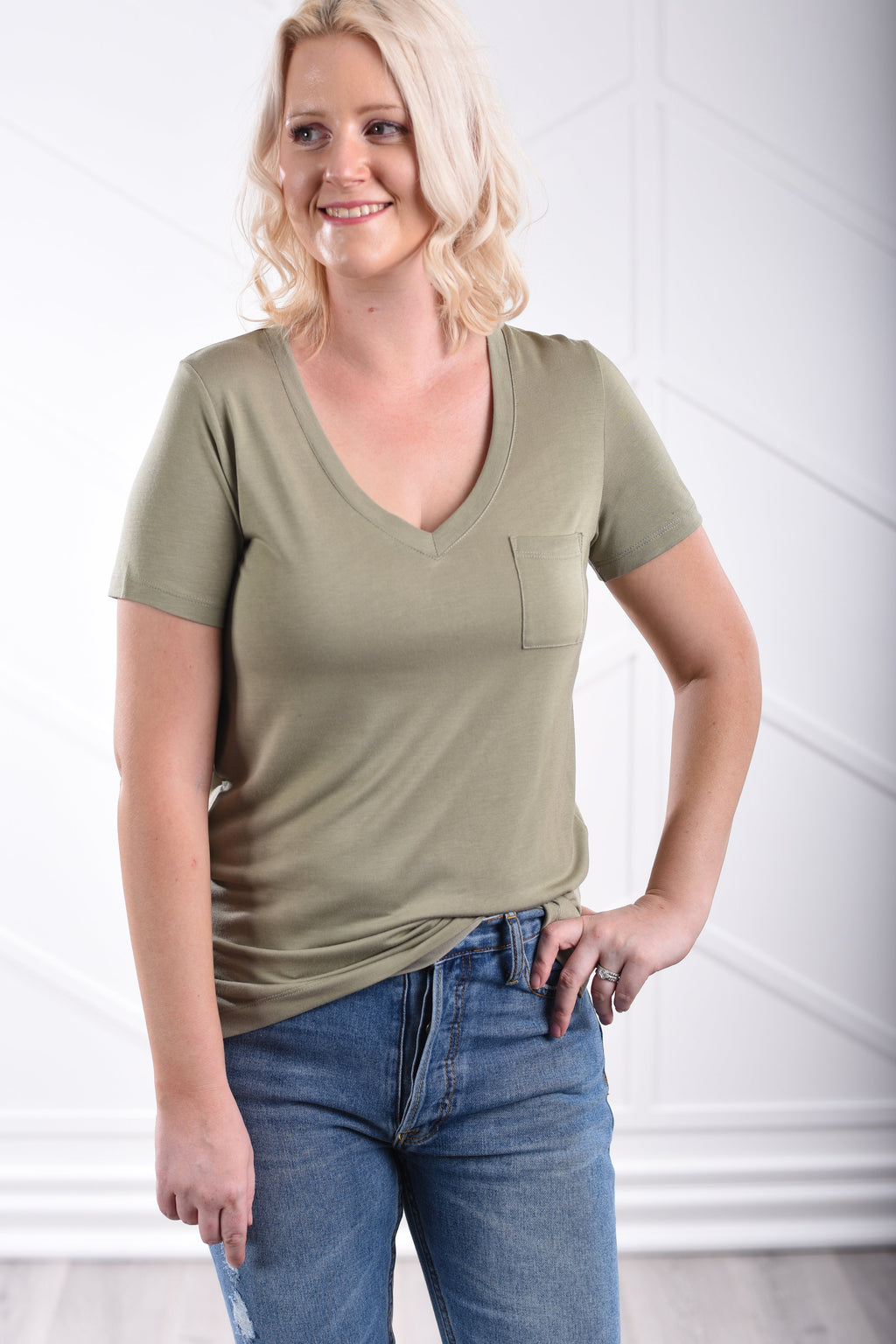 The Perfect V-Neck Tee - Olive
