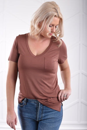 The Perfect V-Neck Tee - Pecan Mauve