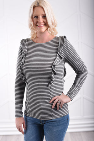 Genevieve Ruffle Top - women's boutique clothing Strong Confident You