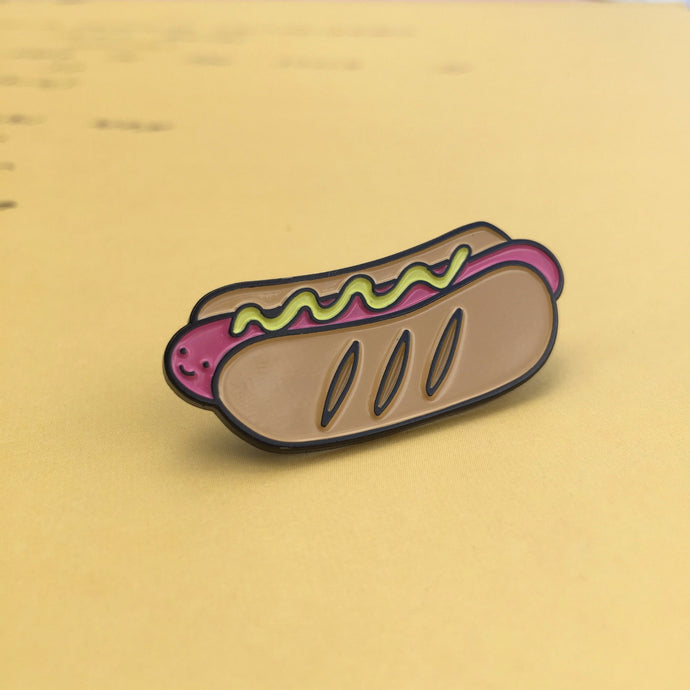 Hiya Hot Dog Enamel Pin