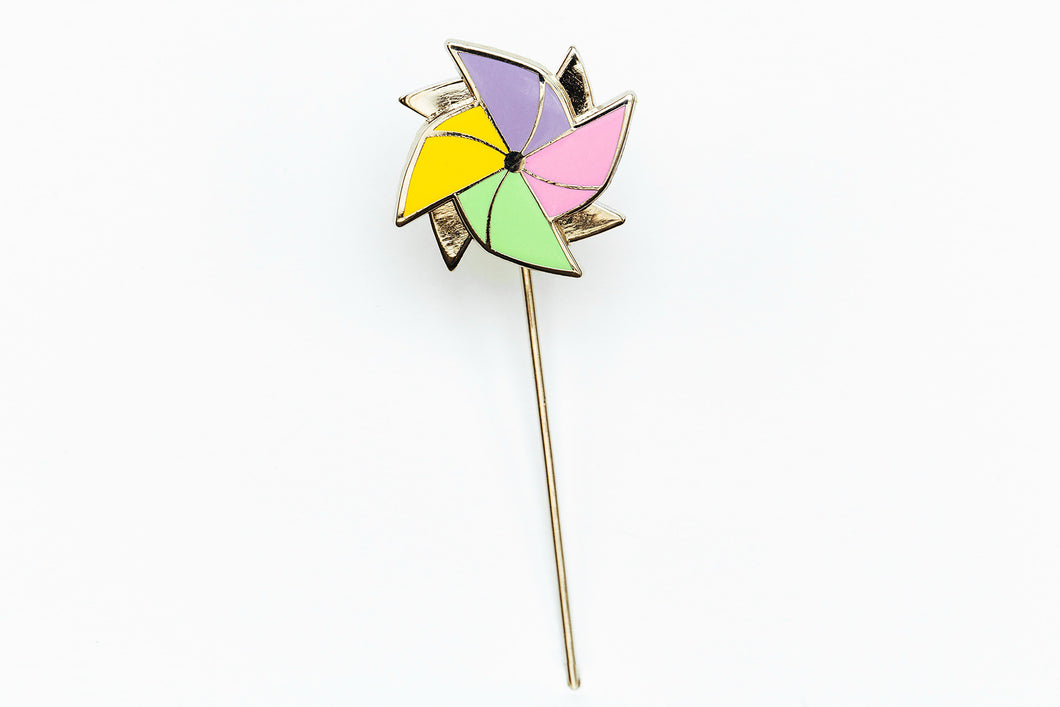Spinning Pinwheel Hard Enamel Stick Pin
