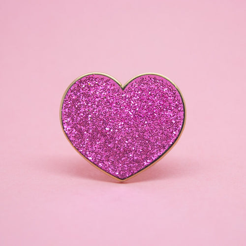 Pink Glitter Hearts Enamel Pin Set