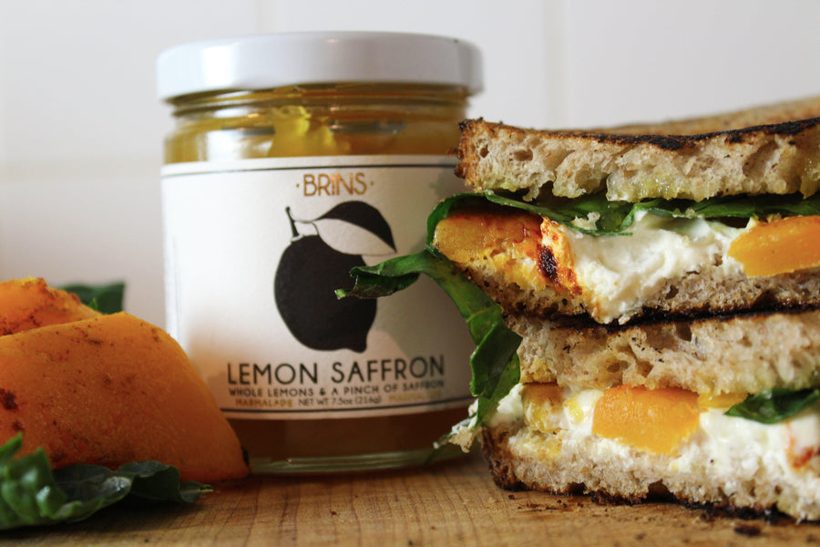 Grilled Cheese with Goat Cheese, Butternut Squash, and Brin's Lemon Saffron Jam