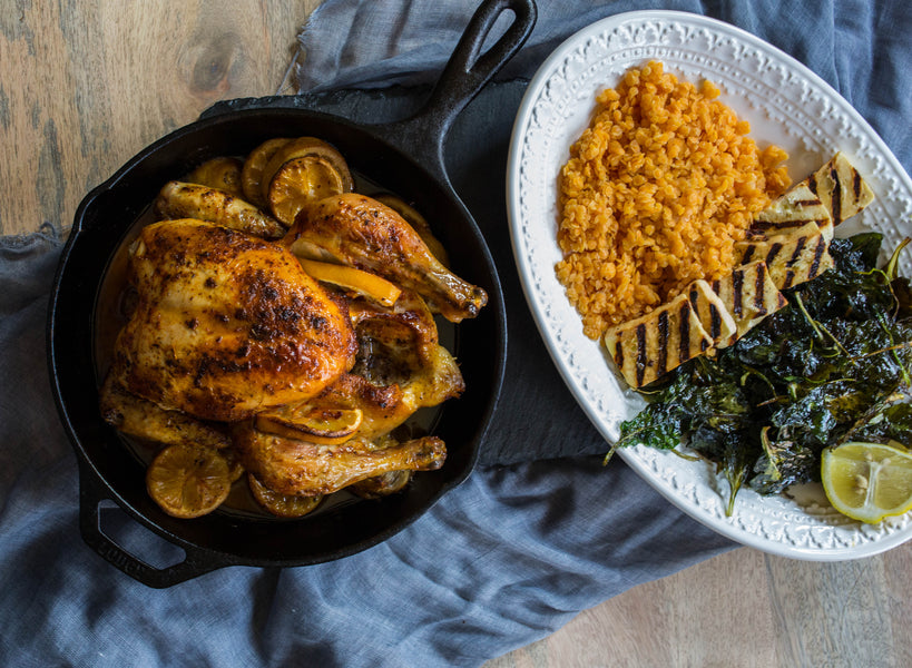 Roast Chicken with Grilled Halloumi, Lentils, and Spinach