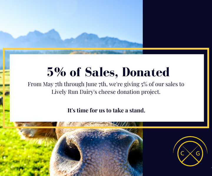 5% of Sales Donated to Lively Run Dairy's Cheese Donation Project
