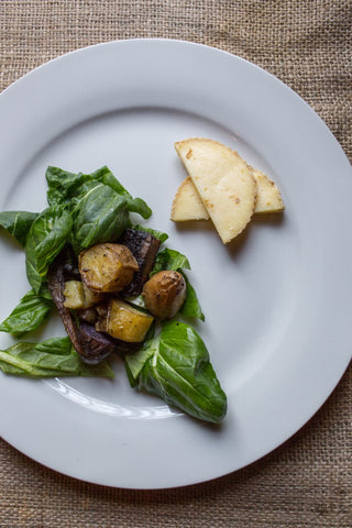 Roasted Potato and Mushroom Confit with Fresh Tatsoi
