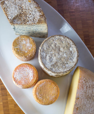 Assortment of raw milk cheeses