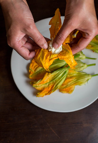 Stuffing squash blossoms with mozzarella