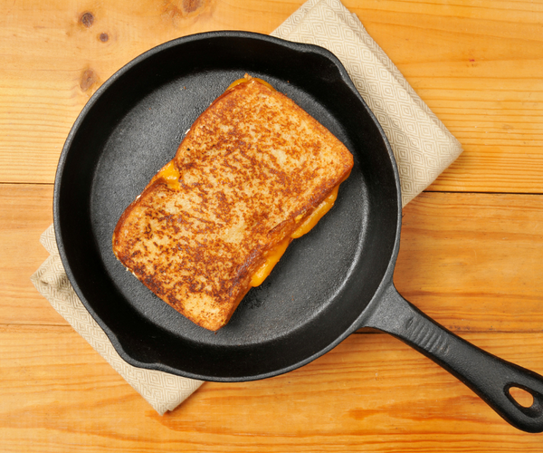 grilled cheese in a cast iron skillet