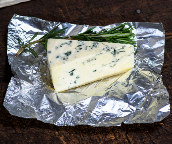 blue cheese wrapped in foil