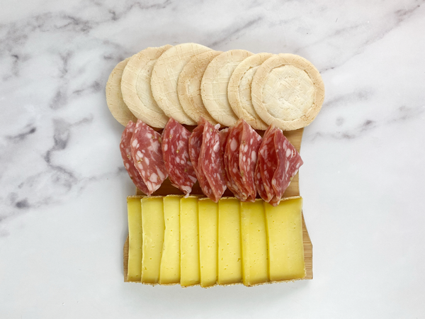 appalachian tomme with salami toscano and crackers