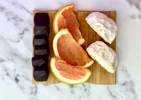 bloomy rind goat cheese with grapefruit and dark chocolate