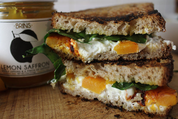 goat cheese grilled cheese with butternut squash