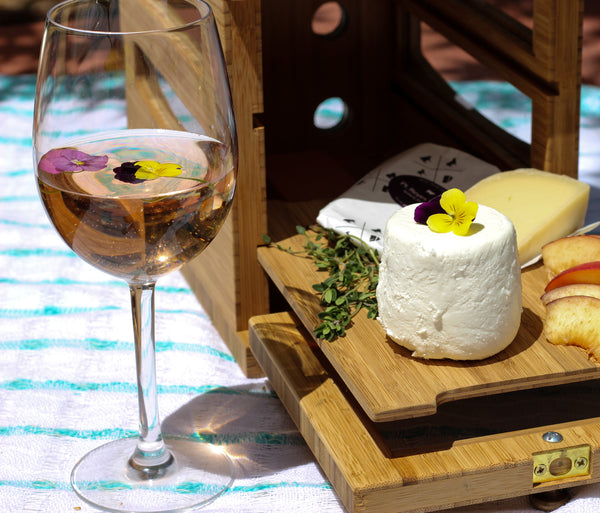 brooklyn winery rose wine with new york goat cheese
