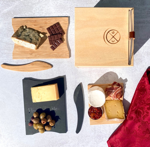 blue cheese with chocolate, washed rind with olives, alpine with cured meat