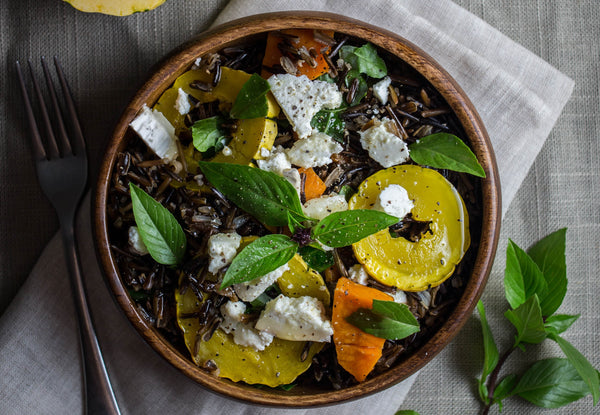 black rice delicata squash with goat cheese