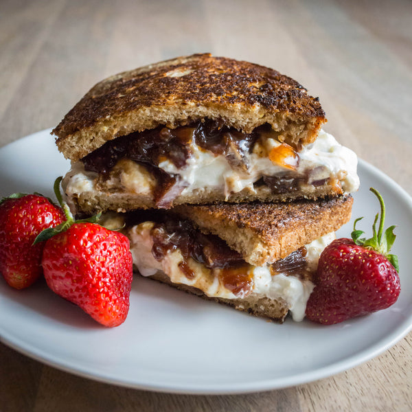 strawberry bacon jam with burrata grilled cheese