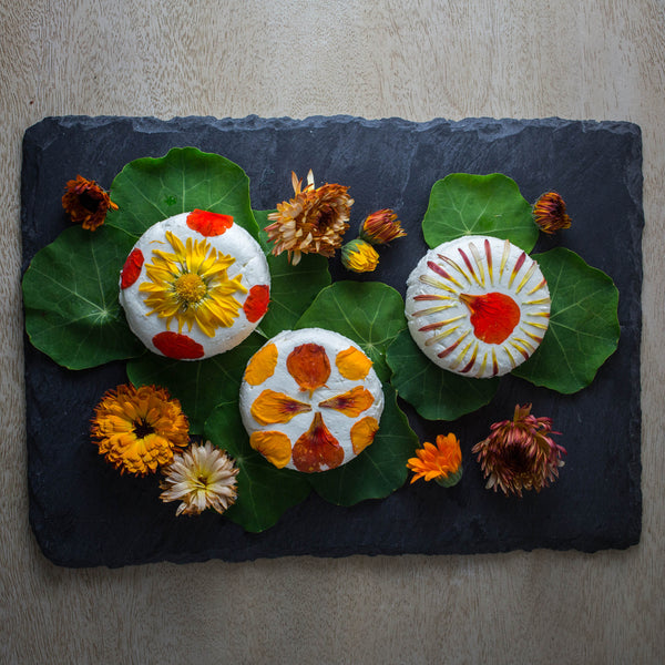 edible flowers and goat cheese