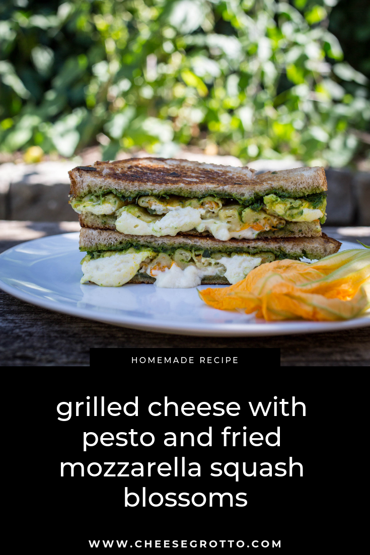 grilled cheese with pesto and fried mozzarella squash blossoms