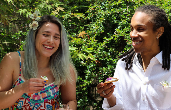 woman and man eating cheese and pairing rose wine