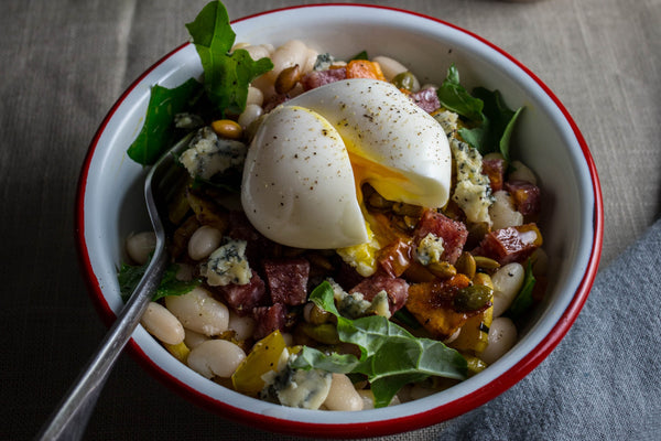 white bean and blue cheese salad with salami