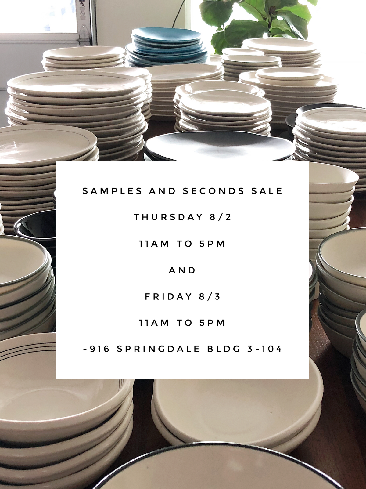 8/2 & 8/3: Samples and Seconds Sale