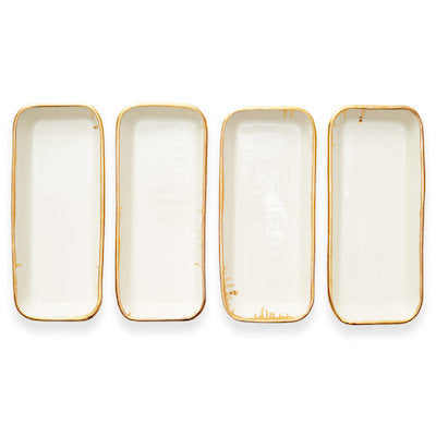 Rectangular Serving Dish White and Gold