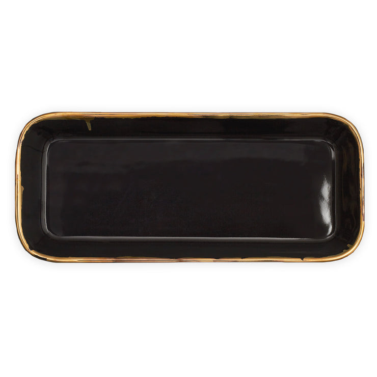 Rectangular Serving Dish Black and Gold