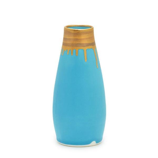 Gramercy Milk Vase- Turquoise and Gold