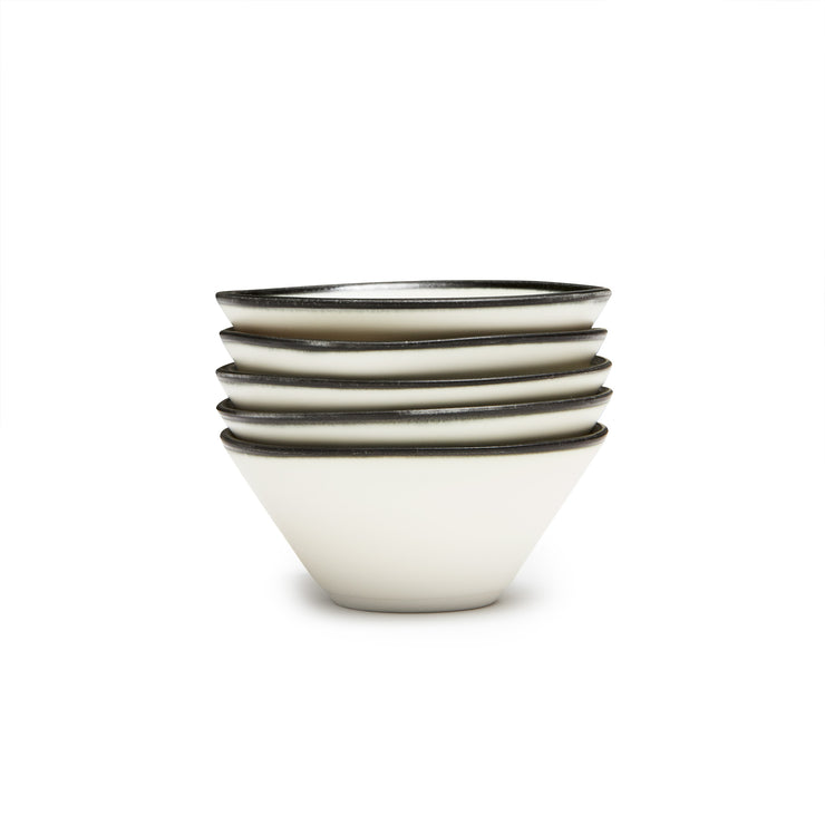 Gift Registry Lexington Snack Bowl- Black Banded Rim