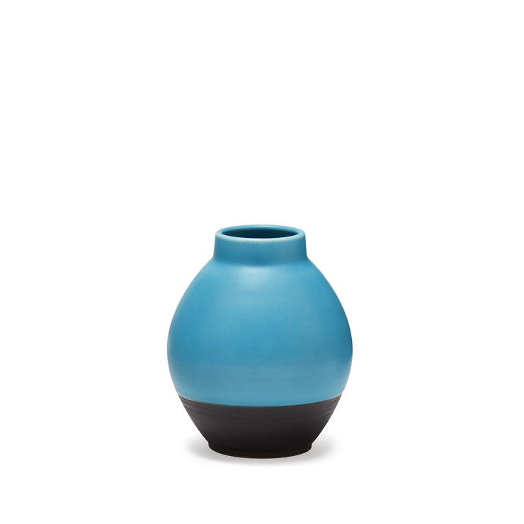 Ltd. Edition- Hand Thrown Turquoise & Matte Black Vase