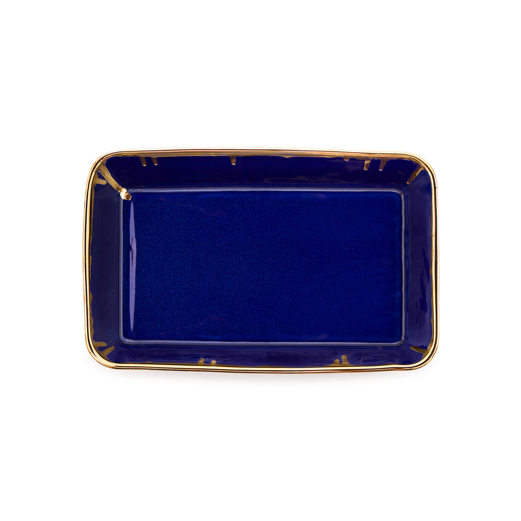 Valet Tray- Mazarine Blue and Gold