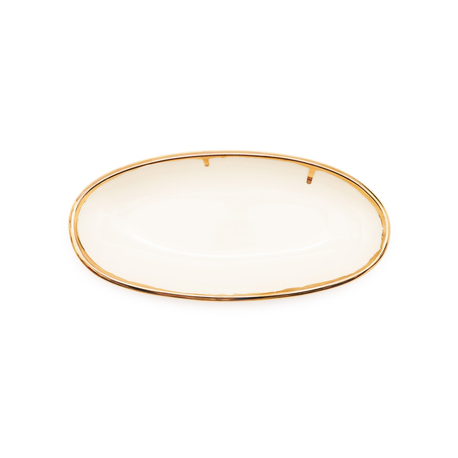 Oval Sides Bowl - White/Gold Rim